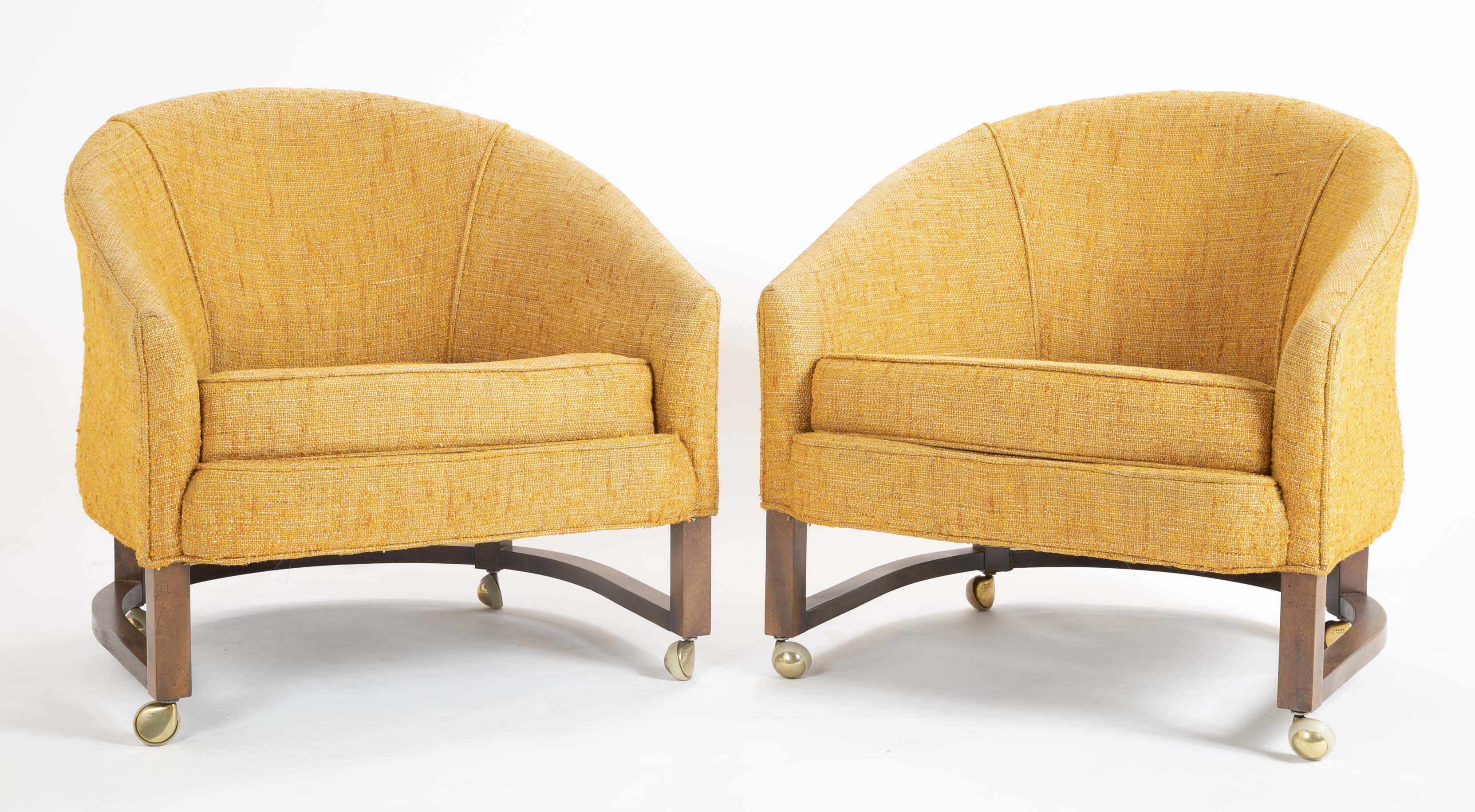 Pair of Dunbar Barrel Back Lounge Chairs