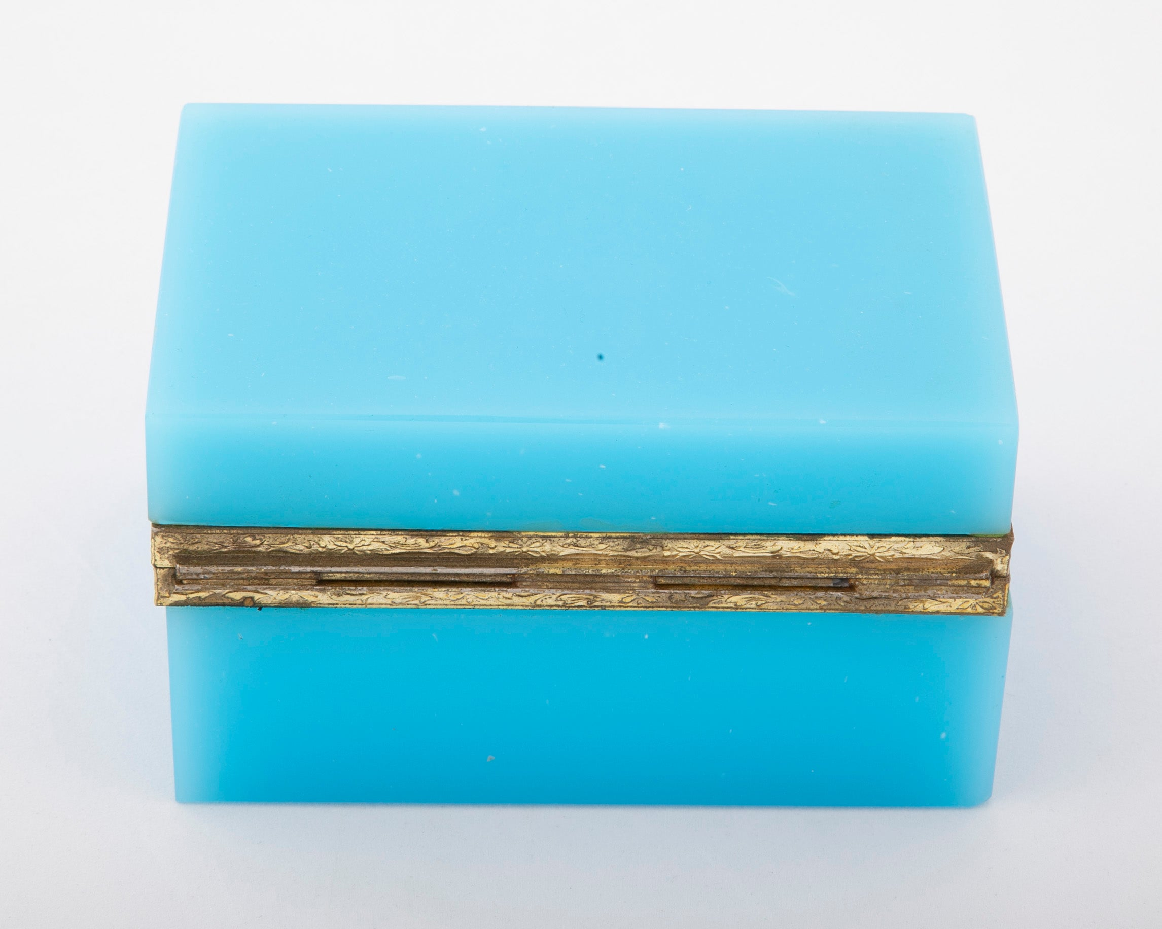 Brilliant Turquoise Opaline Glass  Box with Bronze Mounts