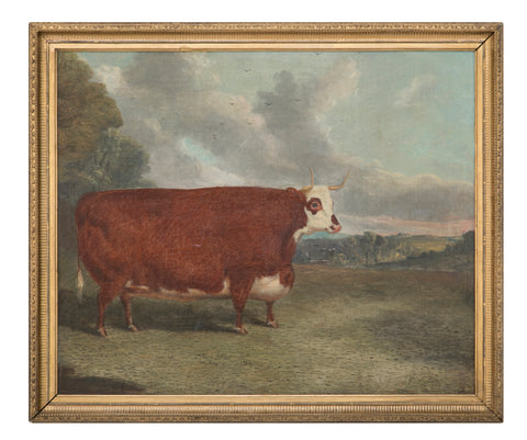 "Oil on Board of Prize Cow Signed "" Whitford 1867 """