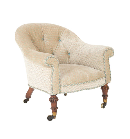 Late Regency Tub Form Upholstered Mahogany Armchair