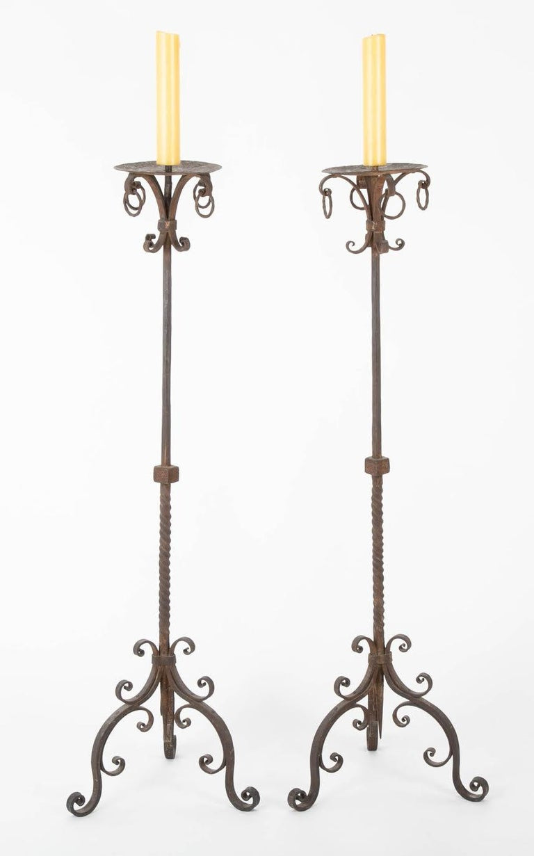 Pair of Italian Wrought Iron Baroque Style Torcheres