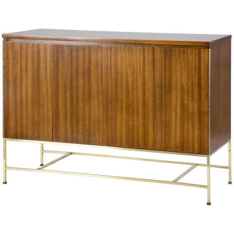 Paul McCobb Walnut Sideboard with Square Tubular Brass Base