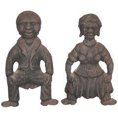 Rare Pair of Pre Civil War African Americana Andirons