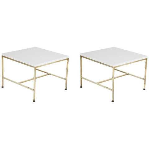 Pair of Brass Paul McCobb Side Tables with Virtrolite Glass Tops