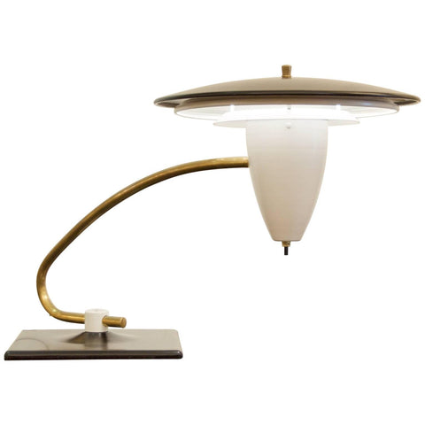 Flying Disc Swivel Desk Lamp in the Style of Gerald Thurston