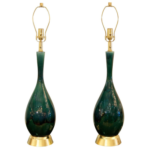 Blue-Green Drip Glaze and Gilt Table Lamps in the Style of Royal Haeger