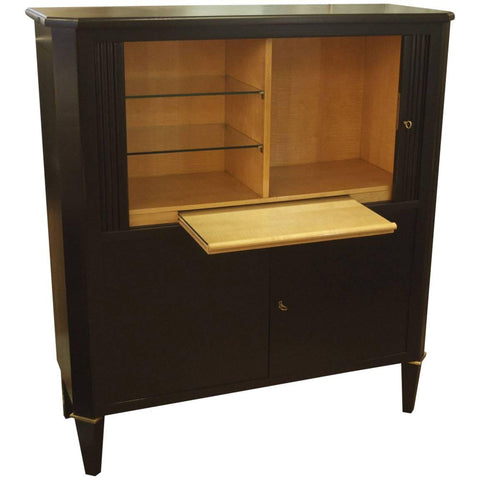 Ebonized Tambour Bar Cabinet Attributed to Maison Ramsay