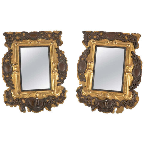 Pair of 18th Century Baltic Gilt Brass and Silver Mirror Sconces
