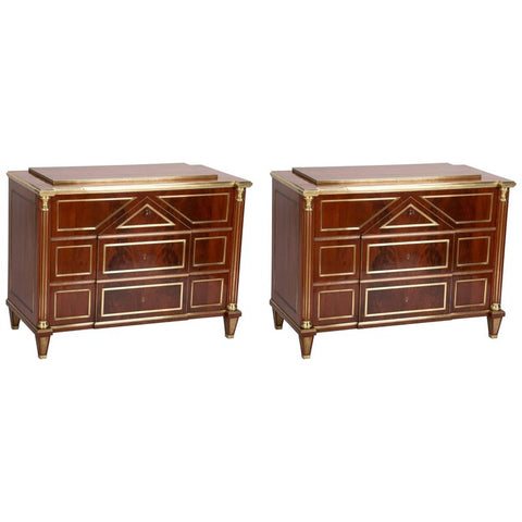 Pair of Baltic Brass Mounted Mahogany Commodes