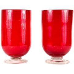 Cranberry Red Hurricane Lamps / Vases by Biot