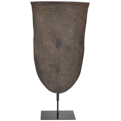 Embossed Metal Kirdi Shield from Cameroon on Bronze Stand