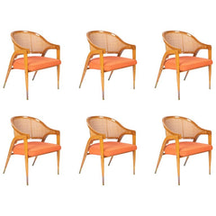 A Set of Six Edward Wormley Model 5480 Cane and Ash Chairs Made by Dunbar
