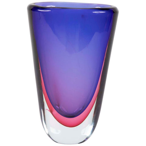 Sommerso Glass Vase by Flavio Poli