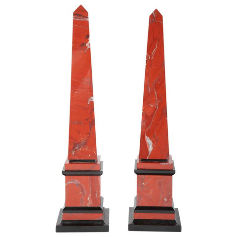 Pair of Red Marble Obelisks