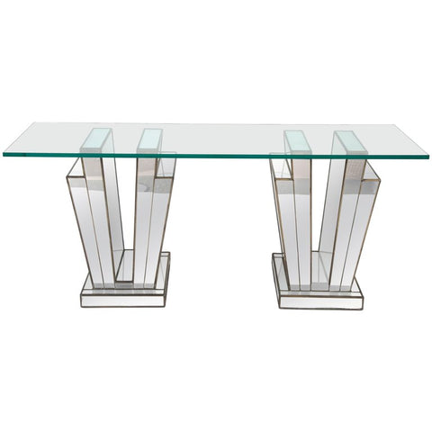 French Art Deco Mirrored Glass Console Table
