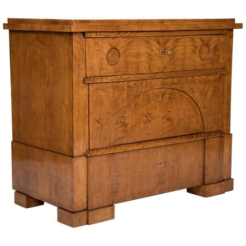 A Period Biedermeier Birch Chest of Drawers with Modern Appeal