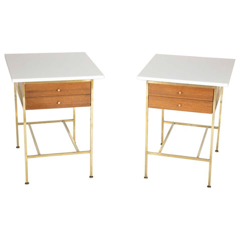 Pair of Paul McCobb Brass and Vitrolite Glass Top Side Tables