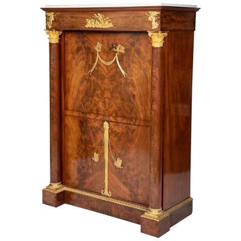 Mahogany and Gilt Ormalou Secretaire Abattant Strongly Attributed to S. Jamar