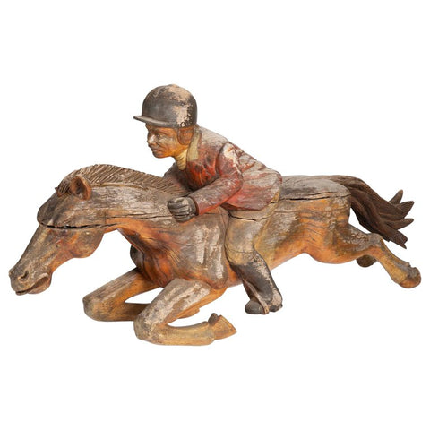 Carved Half Scale Horse & Jockey