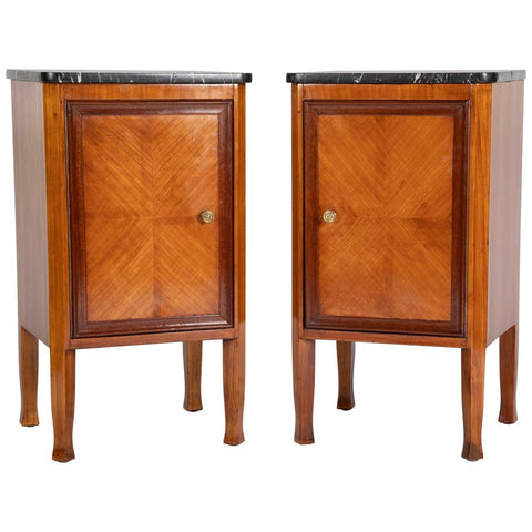 Pair of Italian Fruit Wood Bedside Cabinets