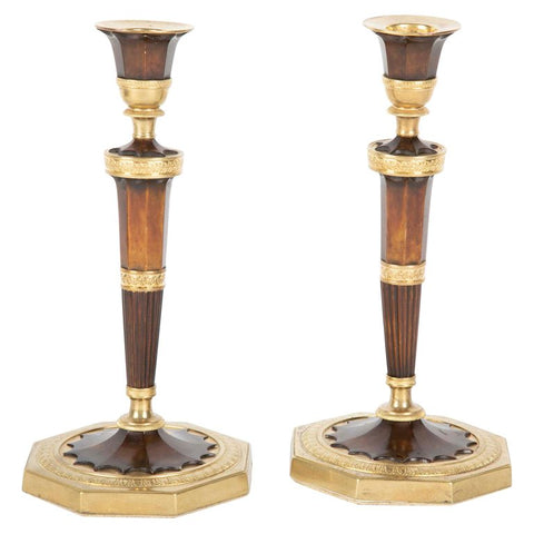Pair of Empire French Bronze Candlesticks