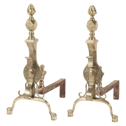 Pair of 19th Century English Etched Brass Andirons