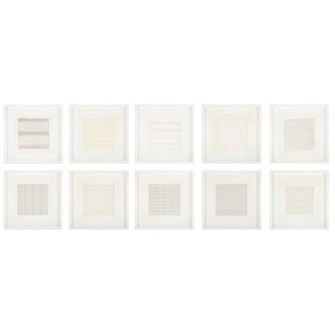 Set of 10 Lithographs after Drawings by Agnes Martin