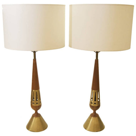 Brass and Walnut Table Lamps by Tony Paul for Westwood Lamps
