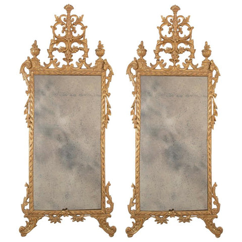 Pair of Italian Gilt & Intricately Carved Neoclassical Mirrors
