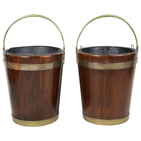 Pair of Regency Mahogany and Brass Bound Peat Buckets