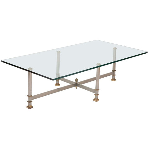 Glass and Steel Coffee Table with Brass Mounts Attributed to Maison Jansen