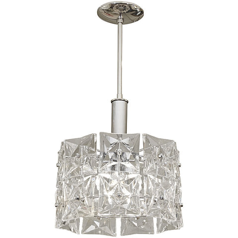 Two-Tier Chrome Drum-Form Chandelier with Square Crystals by Kinkeldey