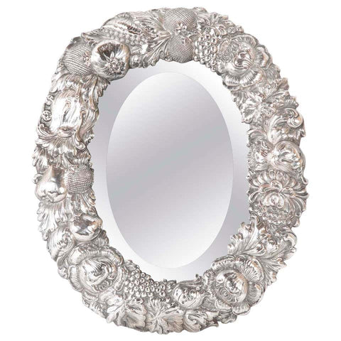 19th Century English Silver Plated Oval Table Mirror