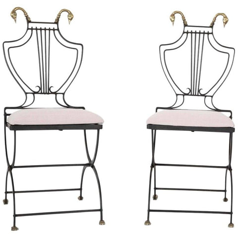 Pair French Neoclassical Wrought Iron Garden Chairs