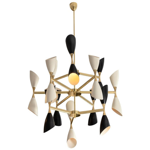 Very Large Rotating Multi Shade Italian Mid-Century Style Chandelier