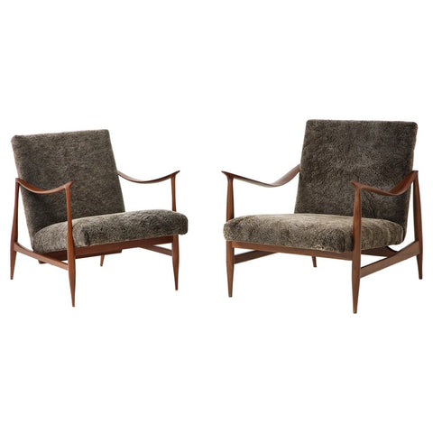 Two Brazilian Style Lounge Chairs with Walnut Frames and Wool Upholstery