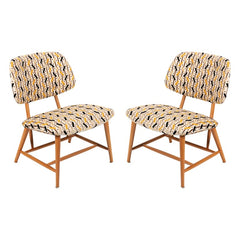 Pair of Armless Reupholstered Wood Framed Lounge Chairs, Sweden, 1950s