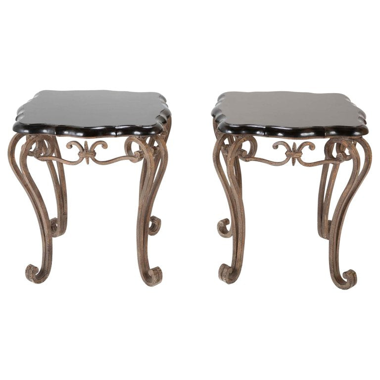 Exceptionnel Pair Of French Midcentury Wrought Iron Side Tables With Black Lacquered Tops