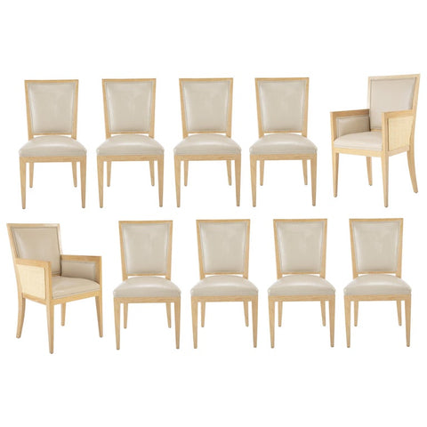 A Set 10 of Contemporary Leather Clad Cerused Oak Dining Chairs