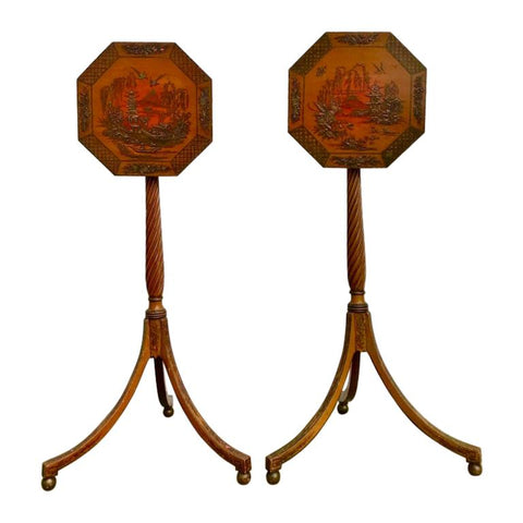 Pair of English Regency Red Lacquer Chinoiserie Candle Stands