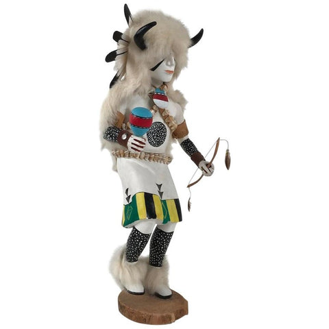 White Buffalo Kachina Doll Hand Carved Signed by Artist
