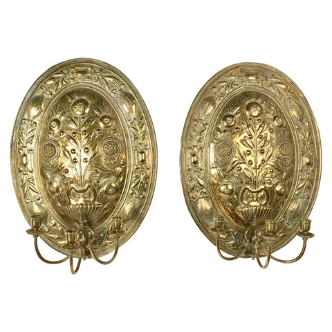 Pair of Brass Repoussé Three-Light Sconces