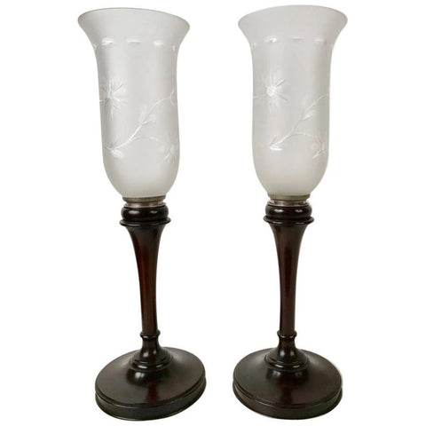 Pair of English Mahogany Photophores with Etched Glass Shades