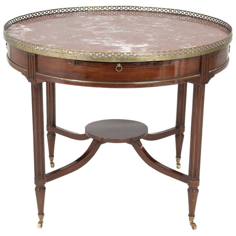 French Mahogany Marble Top Bouillotte Center Table with Brass Gallery