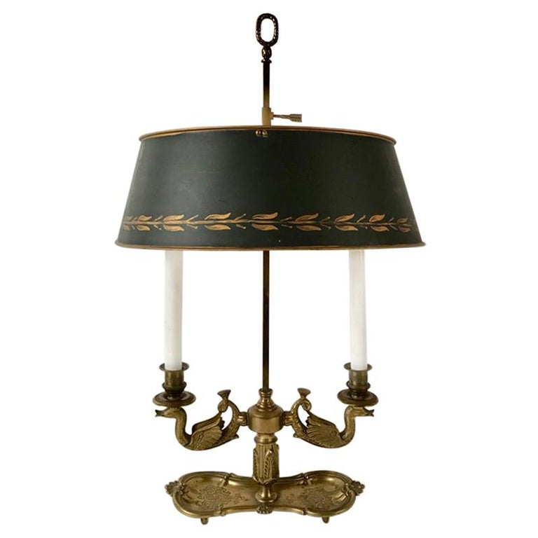 19th Century French Bouilotte Lamp with Tole Shade