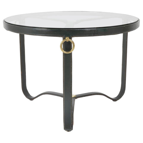 Stitched Leather and Brass Coffee Table Designed by Jacques Adnet