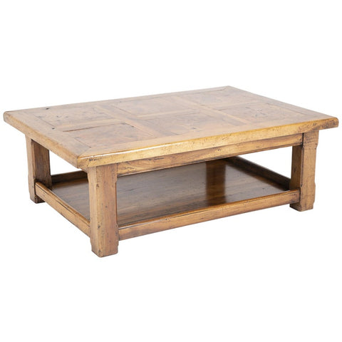 French Provincial Carved Walnut and Elm Coffee Table