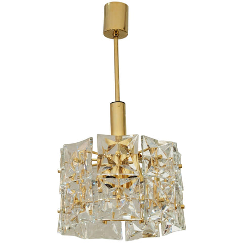 Two-Tier Goldplate Drum-Form Chandelier with Square Crystals by Kinkeldey