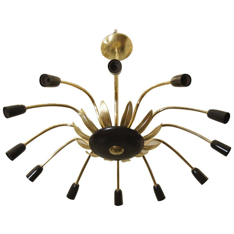 Twelve-Arm Chandelier in Black, Gold and Brass in the Style of Stilnovo