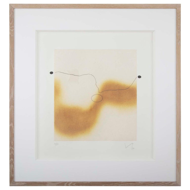 "Etching with Aquatint and Collage by Victor Pasmore Titled ""The Desert Sand"""